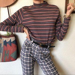 Vintage 90s Striped Mock Neck Top